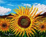 Estrosi girasoli - Olio su tela con spatole  40 x 50 cm - 2005 - ( collezione privata )