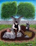 Il ristoro all'ombra dell'ulivo - Olio su tela - 40 x 50 cm - 2008 - (collezione privata )
