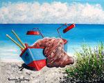 Lampara in spiaggia - Olio su tela -  24 x 30 cm - 2008 ( collezione privata )