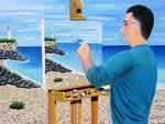 Autoritratto in spiaggia con faro - Olio su tela - 60 x 80 cm - 2017