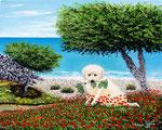 Cucciolo di labrador in spiaggia - Olio su tela - 40 x 50 cm - 2009