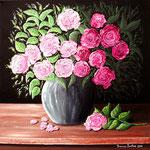 Vaso con rose materiche - Olio su tela - 50 x 50 cm - 2010