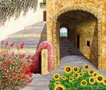Festa di colori nel Borgo Antico - Olio su tela - 50 x 60 cm - 2010