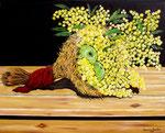 Cornucopia con mele e mimose - Olio su tela - 40 x 50 cm - 2011