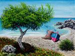 Lampara in spiaggia. Nr. 2 - Olio su tela - 30 x 40 cm - 2008 ( collezione privata )