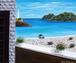 Affaccio sul mare con faro - Olio su tela - 50 x 60 cm - 2007