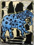 Pincemin Jean-Pierre, Elephant, Sans date, 66 x 50 cm sur arches 86 x 70 cm. Sérigraphie ©ADAGP, Paris 2011