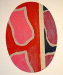 Viallat Claude, Sans titre (ovale rose, rouge), 2004, 80 x 58 cm. Sérigraphie ©ADAGP, Paris 2011