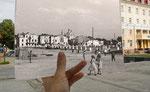 """Вид на Собор через зруйнований центр. На місті пустоти - наразі готель """"Україна"""" та театр. Крайній лівий будинок на фото - ще стоїть. Він знаходиться метрів за  п'ятдесят від """"Народного Дому""""."""