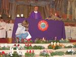 Erster Adventsonntag, Brief von Albert wird ans Altartuch geheftet