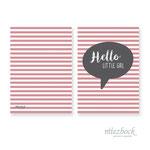 Klappkarte 'Hello little girl' | Best-Nr. MZG_04  | Außenseiten bedruckt | Falz lange Seite | 10x14 cm