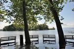 Hochwasser am Starnberger See - gegenüber Roseninsel