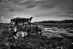 """Lungo la costa devastata dallo tsunami, Odaka, Fukushima """"No-Go Zone"""", Giappone"""