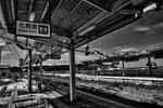 "Stazione dei treni devastata dallo tsunami, Tomioka, Fukushima ""No-Go Zone"", Giappone"