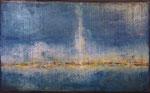 Land in Sicht / Oel auf Gips, Filz / 80 x 130cm / 2015