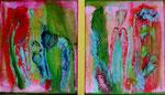 Mann mit Kind, Frau mit Blume 2x 25x25, A, oR