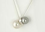 Perlenanhänger in weiß und hellgrau mit Silberring