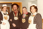 Die Beamten 1984:  Geissnäll Alice Rossacher, Geisskönig Beat Bürgi, Geissober Hans Schrackmann, Geissunder Maria Halter