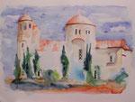 Kirche im Idagebirge, Aquarell 31x41, TW