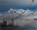 Gebetsfahnen in der Berglandschaft Tibets, Acryl auf Keilrahmen, 80x100 cm, vergeben