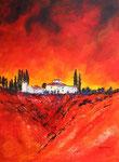 Toskana rot, Acryl auf Aquarellpapier, 56x76 cm ohne Rahmen 150 Euro