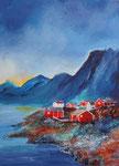 am Fjord, Acryl auf Aquarellpapier, 56x76 cm ohne Rahmen 140 Euro