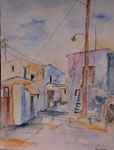 Gasse in Ahlada, Aquarell, 31x41, Elvira Walther