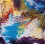 blaue Lagune II  Acryl mit Resin, 40x40 cm, vergeben
