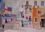 Straßenszene in Kos-Stadt. Aquarell, 30x40 cm , TW