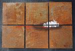 dem Morgengrauen entgegen, Mischtechnik auf 6 Metallplatten je 30x30 cm auf Träger 102x71 cm vergeben