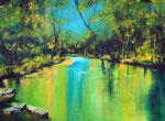 still ruht der See, Acryl auf Keilr. 60x80 cm, Kursarb. B. Klimmer 220 Euro