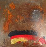 Bad moon rising, Mischtechnik auf Metallplatte 30x30 cm in Rahmen 50x50 cm, € 280