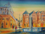 Stadtbummel Herborn Marktplatz, Mischtechnik Öl/Acryl auf Keilr. 60x80 cm, 240Euro