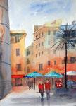 Platz in Palma de Mallorca, 30x40 cm, 125 Euro ungerahmt , plein air gemalt