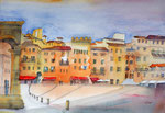 Siena Piazza del Campo, Aquarell 36x51 cm, 160 Euro ohne Rahmen