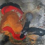 schwarz-rot-rost, Acryl und Rost auf Eisenplatte, 30x30 80 Euro