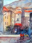 Valdemossa Dorfszene, 30x40 cm, nach einem Gemälde von Alvaro Castagnet, 135 Euro ungerahmt
