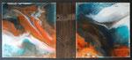 Gischt, Resin und Farbe auf 2 Keilr. je 40x40 cm , kombin. mit Altholz , Gesamt 100x46 cm, 330 Euro