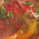 Frühlingswirbel Mischtechnik 40x40 cm auf 8 cm dickem Keilrahmen 95 Euro