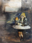 Edward- oder: one more cup of coffe, Mischtechnik 60x80 cm, 350 Euro