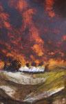 Gewitterstimmung, Acryl auf Aquarellpapier, 56x76 cm, Kursarbeit B. Klimmer ohne Rahmen 170 Euro