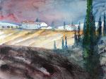 toskanische Landschaft, 45x60 cm, Kursarbeit Bernhard Vogel, 140 Euro ungerahmt