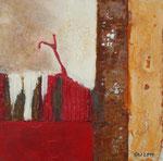 Rot II, Acryl und Rost auf Eisenplatte, 30x30 70 Euro