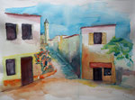 Studie Haus im Süden II, Aquarell 35x50 cm , 150 Euro ohne Rahmen