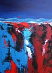 roter Abhang, Acryl auf Keilrahmen, 60x80 cm, Kursarbeit B. Klimmer 160 Euro