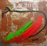 ohne Titel, Acryl und Rost auf Metallplatte 30x30 cm, mit Rahmen 180 Euro, in weissem Holzrahmen 50x50 cm