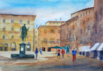 Florenz Piazza della Signorina, Aquarell 36x51 cm, 150 Euro ohne Rahmen