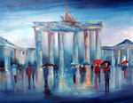 Regen am Brandenburger Tor Acryl und Öl auf Keilr. 80x100 cm, 320 Euro