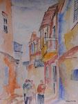 Straßenszene Kreta, Aquarell 31x41, Elvira Walther