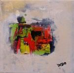 Primavera I , informell, Acryl auf Keilrahmen, 30x30 cm, Kursarbeit B. Klimme r, vergeben
